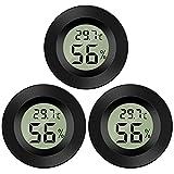 Thlevel Mini Termómetro Higrómetro Digital Interior de Temperatura y Humedad, Negro (3 PCS - B)