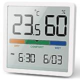 NOKLEAD Termómetro Higrómetro Digital portátil, termómetro e higrómetro Interior con Alta precisión (Blanco)
