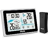 BACKTURE Termómetro Higrómetro Digital, Estación Meteorológica con Sensor Inalámbrico Exterior, Interior y Exterior Higrómetro Digital con Pantalla Táctil, Monitor de Temperatura y Humedad (Negro)