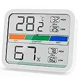 LIORQUE Termómetro Higrometro Digital, Medidor de Temperatura y Humedad con Registro Máximo y Mínimo para Interior (Batería Incluida)
