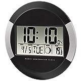 Hama pared digital PP-245, radio reloj con termómetro, configuración de zona horaria, calendario y fase lunar, negro, 2630 X 2610 X 420