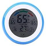 Haofy Termómetro de Temperatura LCD Digital Interior higrómetro medidor electrónico de Humedad monitoreo de Temperatura y Humedad para Dormitorio Oficina Cocina Bodega (Negro)(Azul)