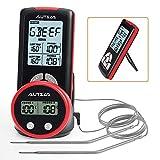 AUTSCA Termómetro de barbacoa, pantalla LCD de lectura, con dos sondas de sensor de temperatura y temporizador, termómetro de carne para horno con pared trasera magnética, para grill, horno y grill
